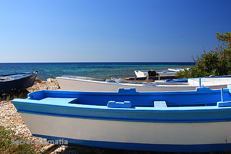 Blue boats of Božava